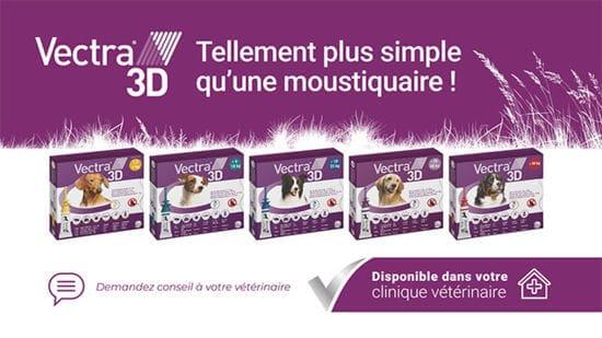 Vectra 3D tellement plus simple qu'une moustiquaire. Vectra 3D repousse les parasites avant qu'ils ne piquent ou mordent votre chien.